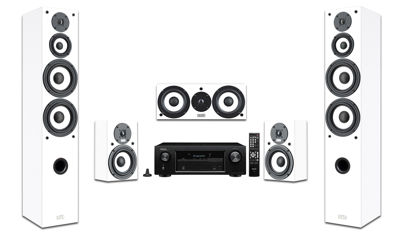 Zestaw STX KD-200 n 5.0 + Denon AVR-X550BT kolor biały