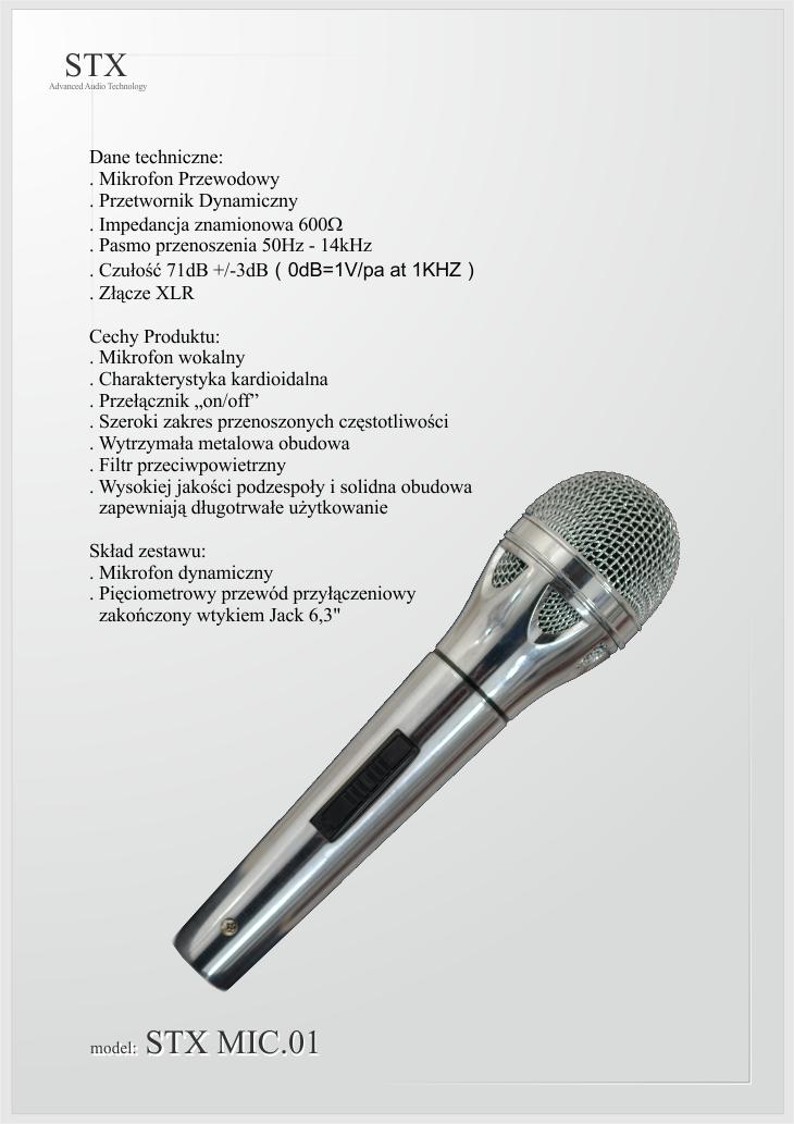 Mikrofon dynamiczny przewodowy MIC.01